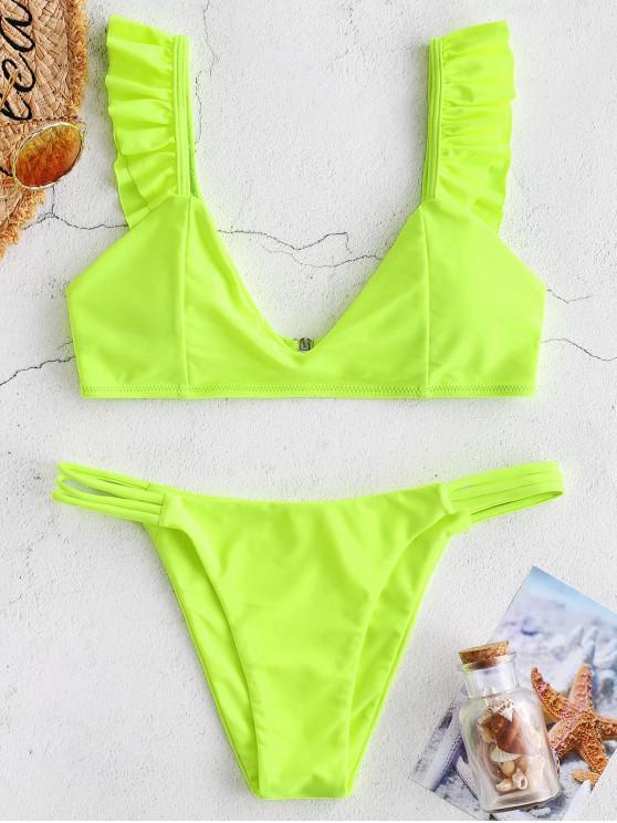 ZAFUL Rüschengitter-Bikini-Set - Gelb Grün L