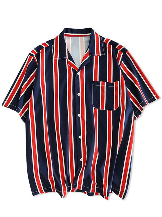 fancy Stripes Print Button Up Casual Shirt - CADETBLUE M