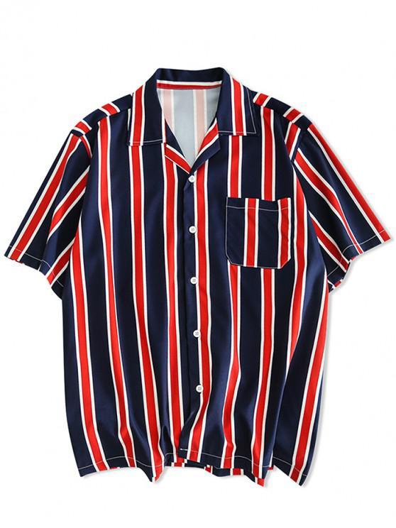 Stripes Print Button Up Freizeithemd - Kadettenblau XL