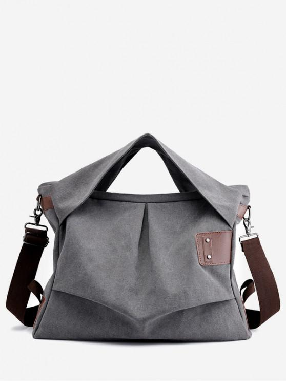 lady Simple Style Canvas Square Shoulder Bag - GRAY