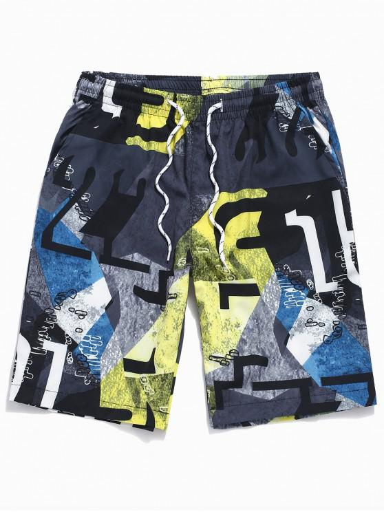 unique Geometric Graphic Print Drawstring Casual Shorts - BLACK XL