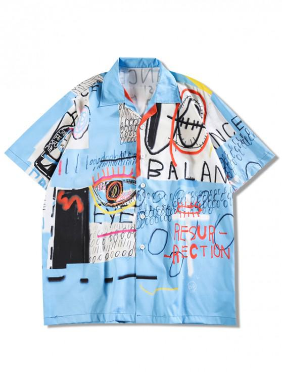 fashion Letters Painting Graphic Print Casual Shirt - DEEP SKY BLUE 2XL