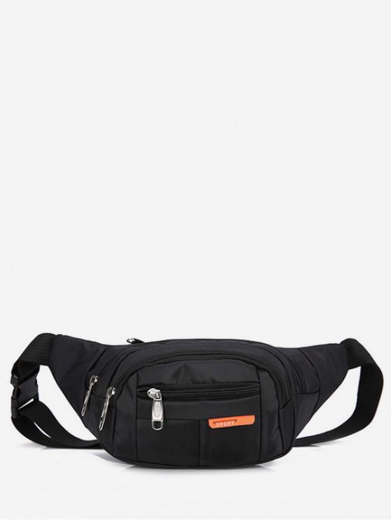 women Outdoors Nylon Pocket Waist Bag - BLACK