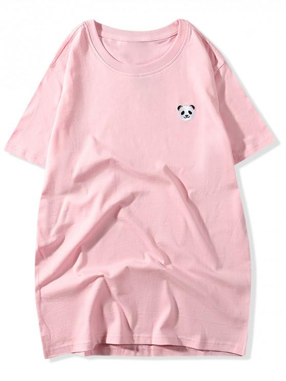 sale Embroidery Panda Solid Color T-shirt - PINK L