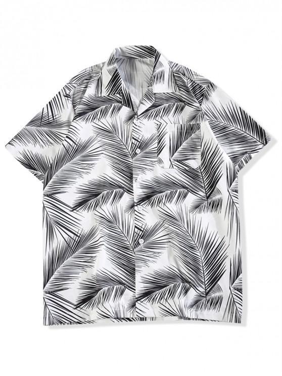 fashion Allover Leaves Print Casual Shirt - BLACK 2XL
