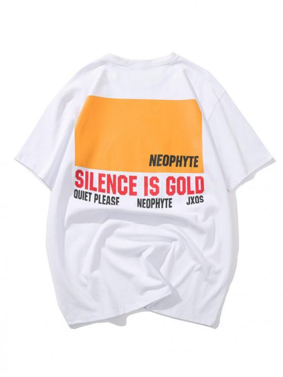 womens Letters Geometric Graphic Print T-shirt - WHITE XL