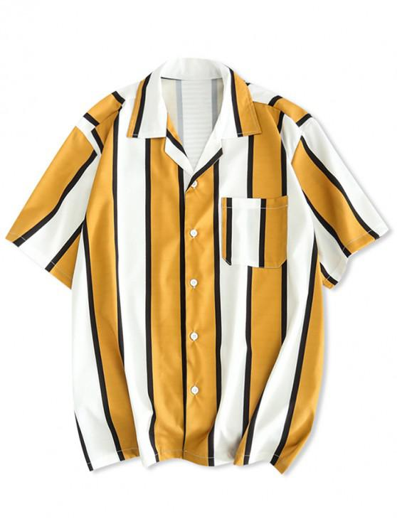 women Color Block Stripes Print Casual Shirt - GOLDEN BROWN M