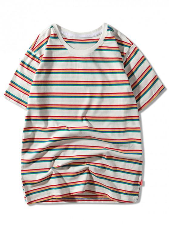 affordable Stripes Print Short Sleeves Casual T-shirt - WHITE M