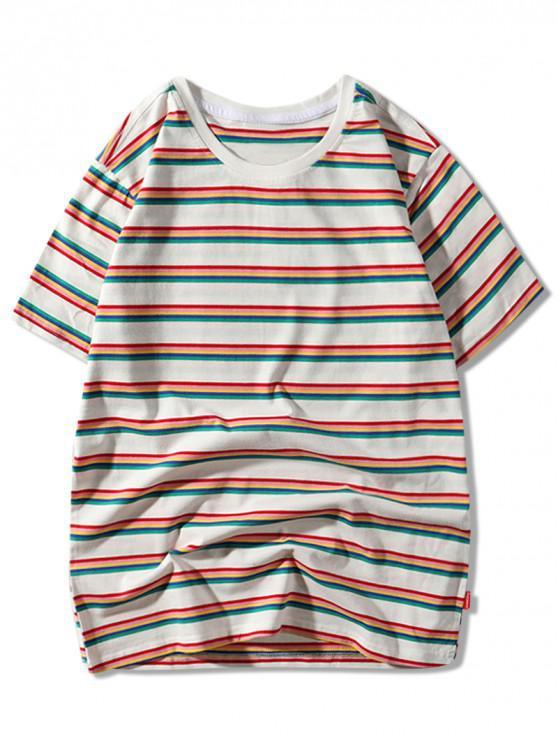 buy Stripes Print Short Sleeves Casual T-shirt - WHITE L