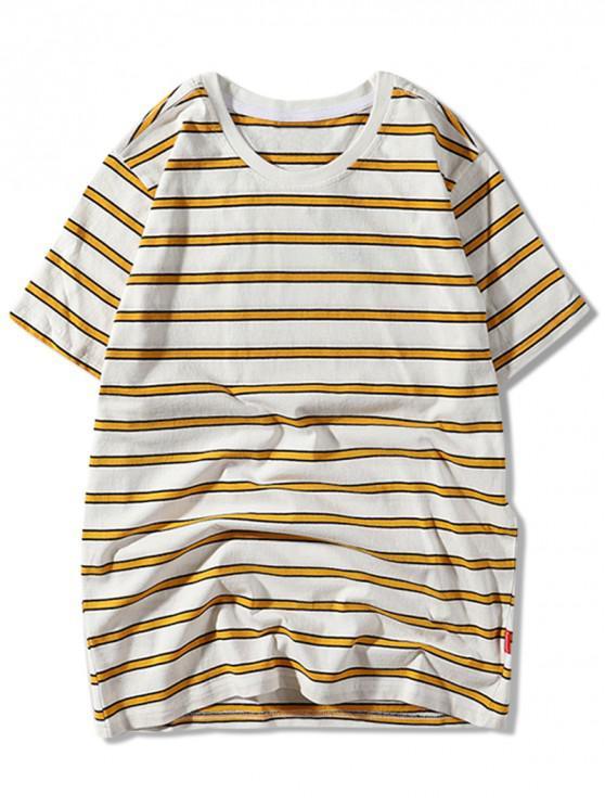 women's Striped Allover Print Casual T-shirt - ORANGE GOLD M