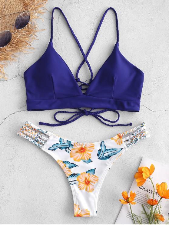 Bikini con fiore intrecciato in pizzo ZAFUL - Blu Scura Denim  M