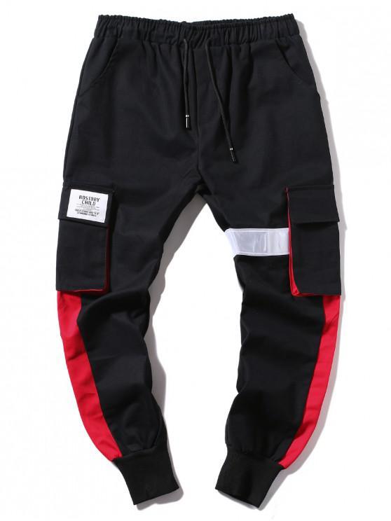 sale Applique Color Block Casual Jogger Pants - BLACK L