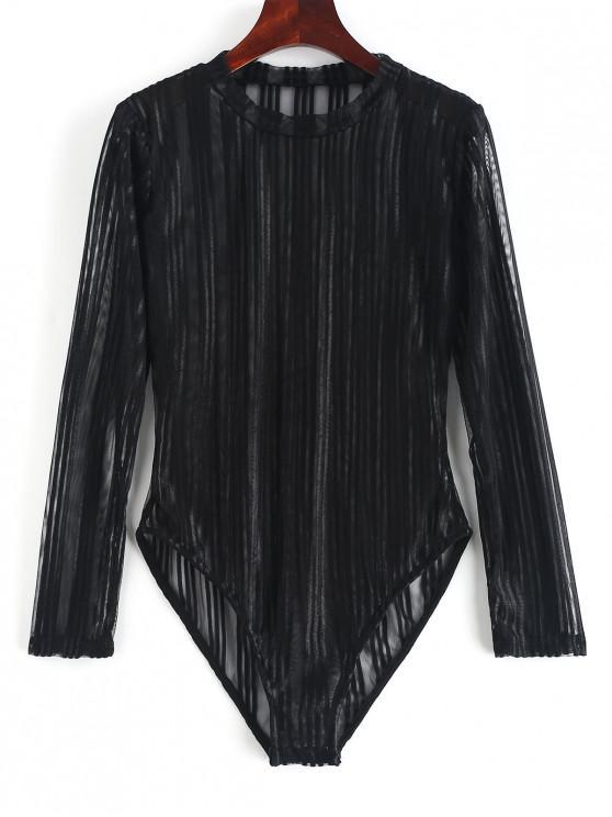 best Striped Long Sleeve Sheer Teddy - BLACK M