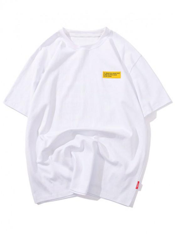 T-shirt Applique Lettre Graphique Imprimé - Blanc XL