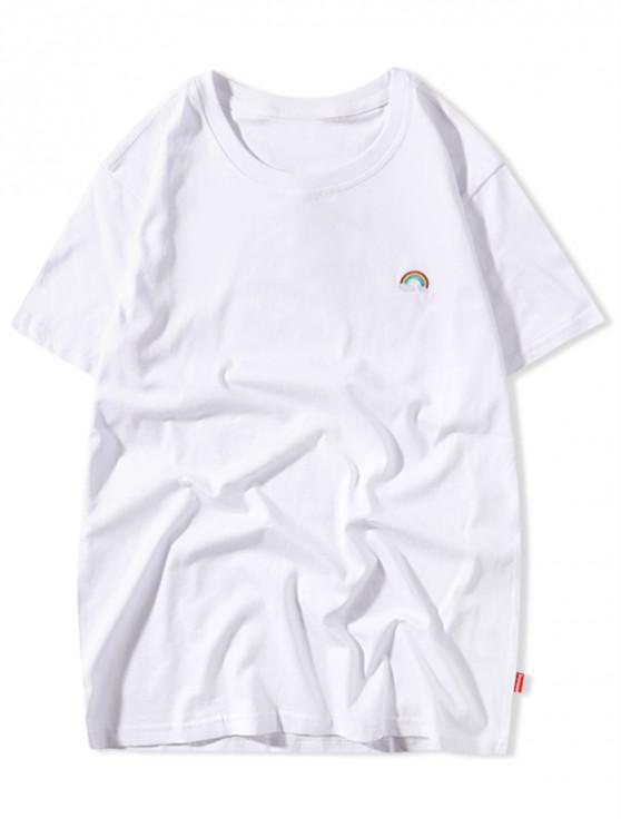 T-shirt casual arcobaleno con ricamo tinta unita - Bianca L