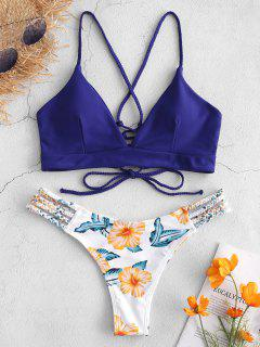 ZAFUL Lace-Up Braided Flower Bikini Set - Denim Dark Blue M