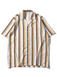 Striped Pattern Casual Pocket Shirt - Yellow 2xl