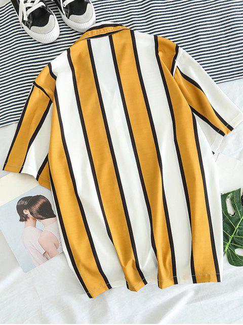 Farbblock-Streifendruck-Freizeithemd - Goldgelb XL Mobile