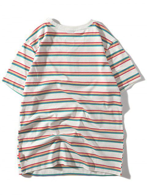 Camiseta Casual Manga Corta Estampada Rayas - Blanco M Mobile