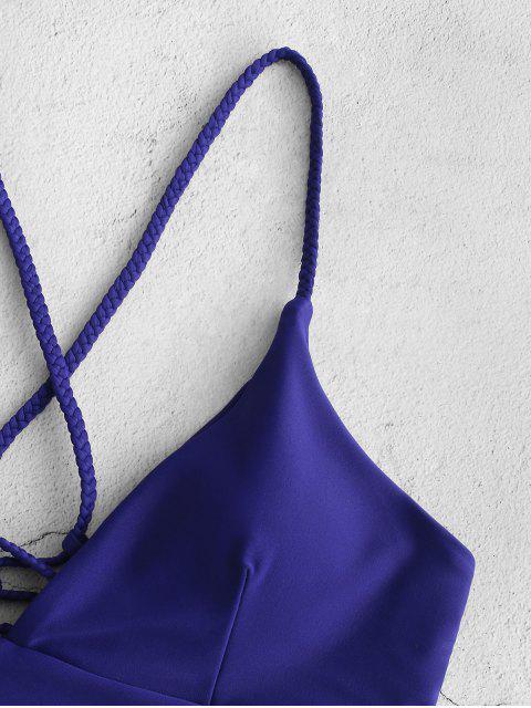 ZAFUL Плетеное Бикини в сборе На шнуровке Цветочный принт - Джинсовый темно-синий S Mobile