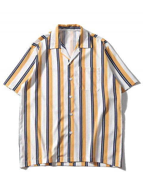 womens Striped Pattern Casual Pocket Shirt - YELLOW 2XL Mobile
