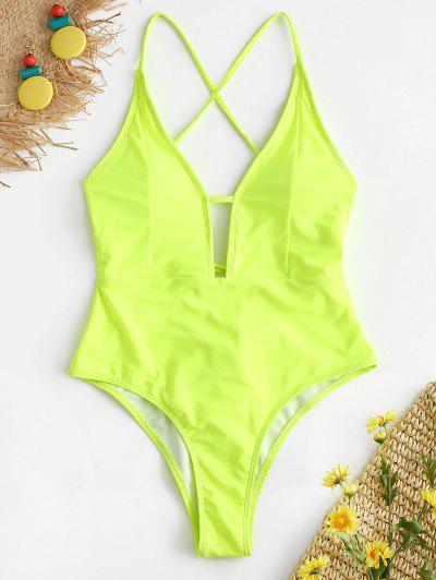 bdbf4d49a8 NEWDCC Lace-up Criss Cross Swimsuit - Green Yellow - Green Yellow L