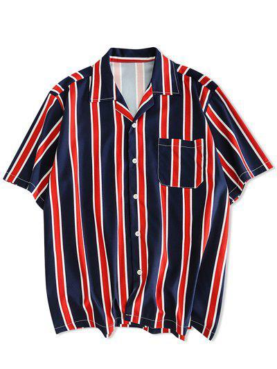 a56869f952 Botão De Impressão De Listras Acima De Camisa Casual - Cadetblue M ...