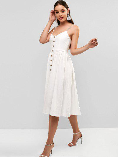 ZAFUL Cami Woven Midi Dress - Milk White S ... aaffefd6d