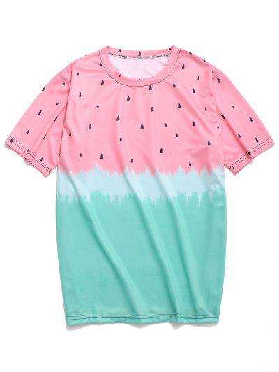 72acf40251dc9 Watermelon Tie Dye Print Casual T-shirt - Light Pink M ...