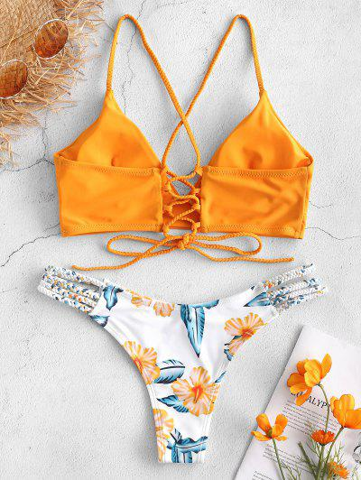 ab21941c4c7ed ... ZAFUL Lace-Up Braided Flower Bikini Set - Bright Yellow S