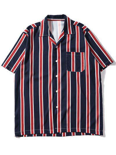 Camisa Casual A Rayas Bolsillo - Vino Tinto M