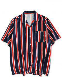 المشارب طباعة زر حتى القميص عادية - طالبا الأزرق M