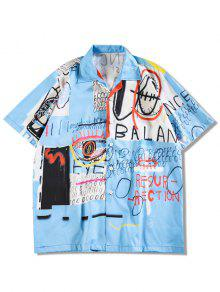 Letters Painting Graphic Print Casual Shirt - Deep Sky Blue L