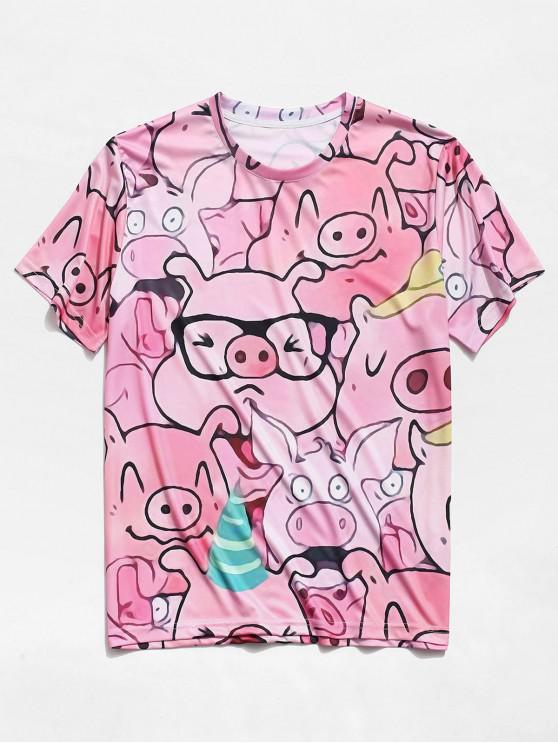ZaFul mangas curtas desenhos animados porco padrão t-shirt - Rosa 2XL