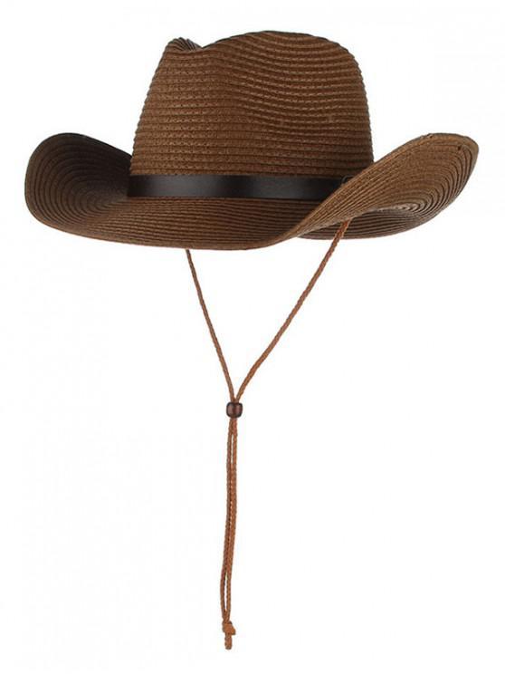 hot Straw Foldable Sun Floppy Hat - COFFEE