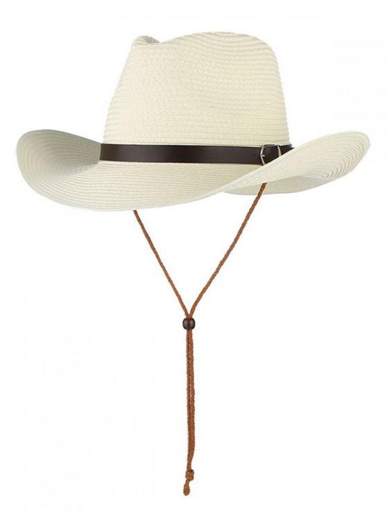 shop Straw Foldable Sun Floppy Hat - WHITE
