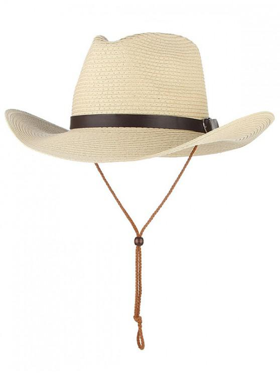 womens Straw Foldable Sun Floppy Hat - BEIGE