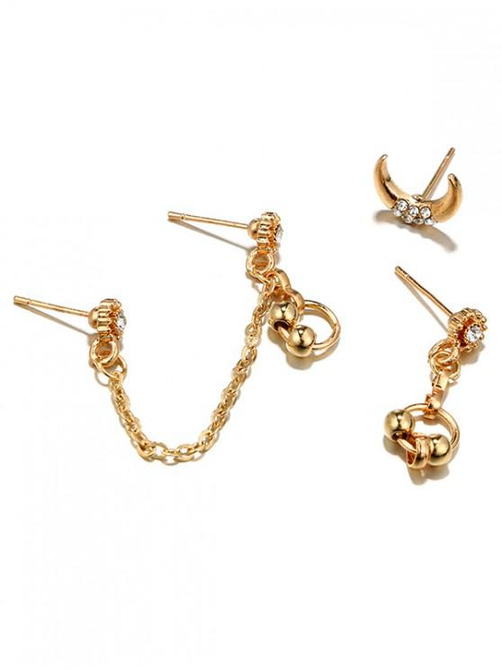 shop Moon Chain Asymmetry Earrings Set - GOLD
