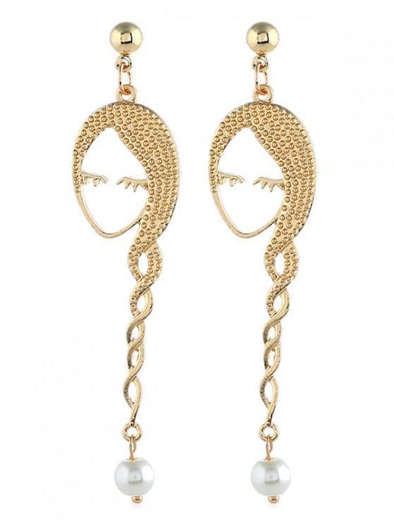 trendy Girl Plait Faux Pearl Earrings - GOLD