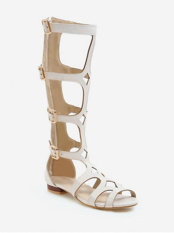 Cut Out Flat Gladiator Sandals WHITE