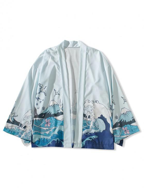 hot Sea Waves Print Casual Kimono Cardigan - ALICE BLUE M