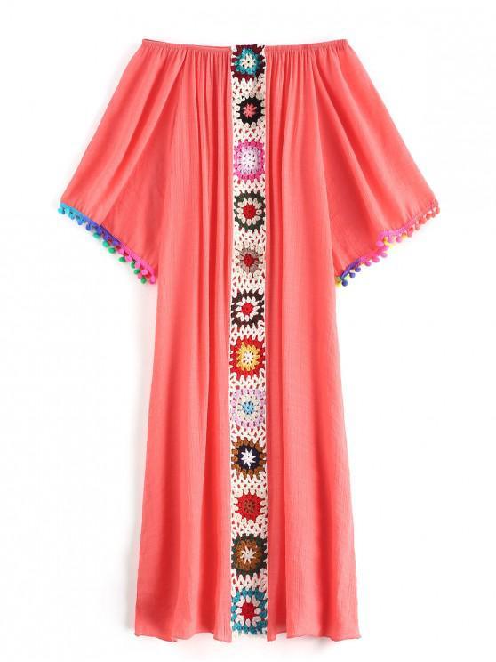 new Bobble Crochet Panel Beach Dress - BEAN RED ONE SIZE