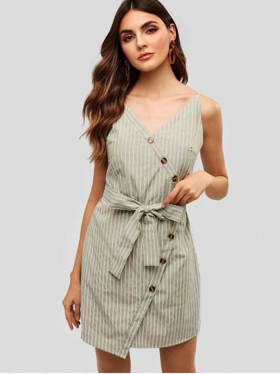 new ZAFUL Buttoned Stripes Cami Dress - DARK SEA GREEN S