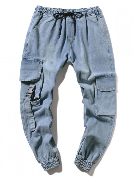 outfit Multi-pocket Casual Jogger Jeans - LIGHT BLUE XS