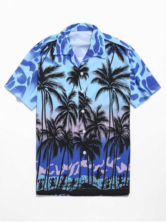Camisa ocasional da praia da cópia da palma de coco - Multi 2XL