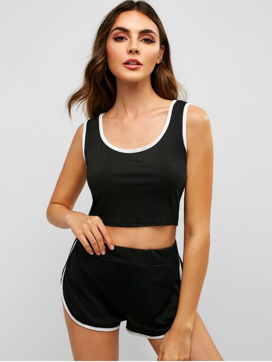 unique Crop Top and Dolphin Short Two Piece Set - BLACK M