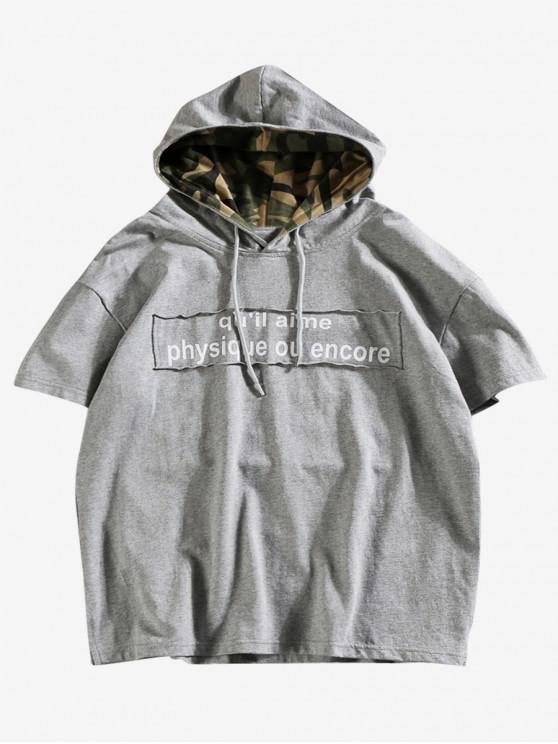 latest Letters Print Casual Hooded T-shirt - GRAY CLOUD 2XL