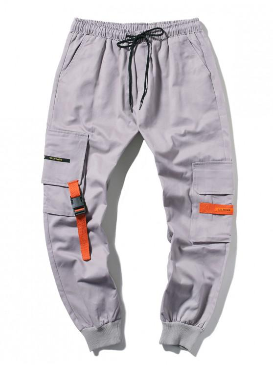 buy Applique Long Cargo Jogger Pants - LIGHT GRAY L