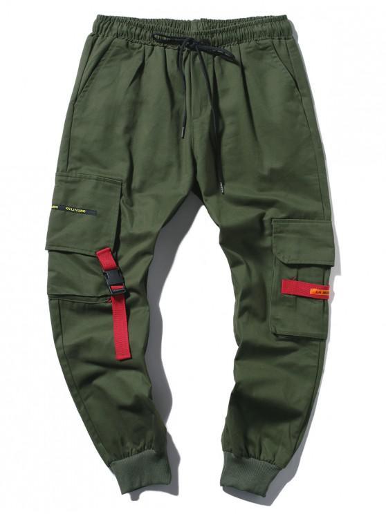 ladies Applique Long Cargo Jogger Pants - ARMY GREEN L