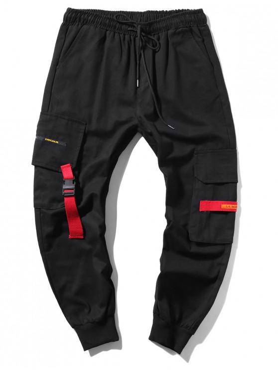 lady Applique Long Cargo Jogger Pants - BLACK XS
